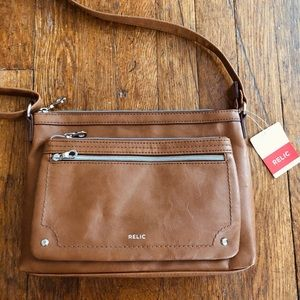 NWT RELIC Brown Leather Purse with Zippers